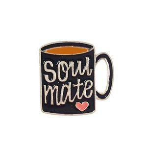 Jewelry - NEW Soul Mate Coffee Cup Enamel Pin Brooch